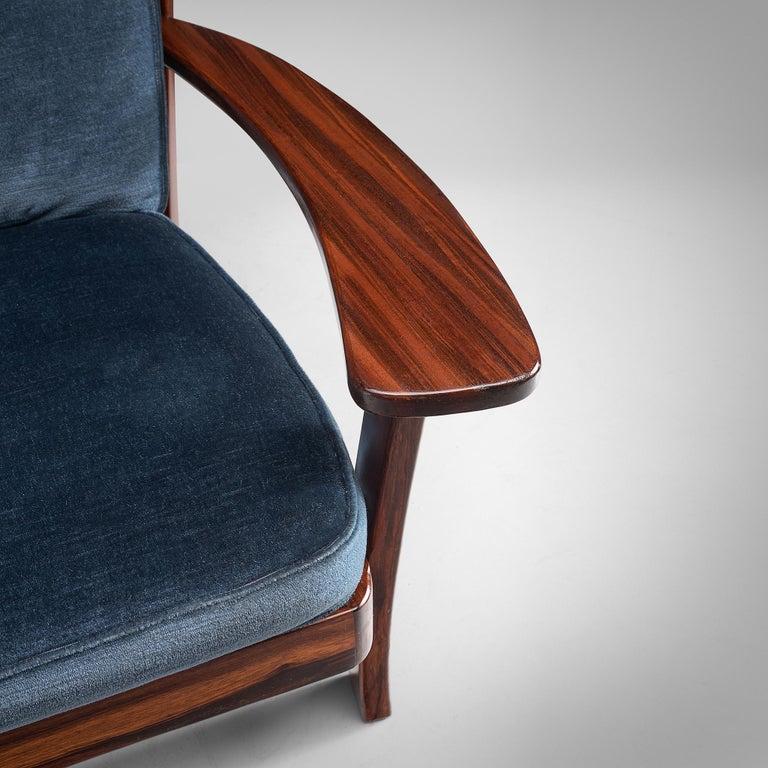 Brazilian Rosewood Sofa in Velvet Upholstery For Sale 1