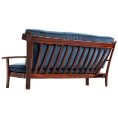 Brazilian Rosewood Sofa in Velvet Upholstery