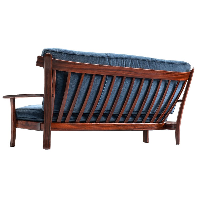 Brazilian Rosewood Sofa in Velvet Upholstery For Sale