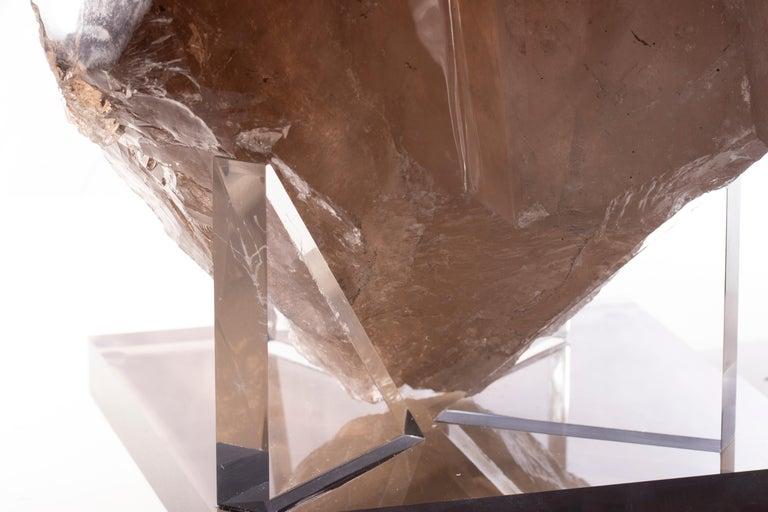 Brazilian Smokey Quartz Double Point in Acrylic Base In New Condition For Sale In Polanco, CDMX