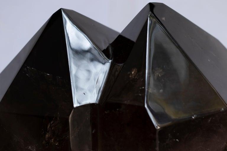 Contemporary Brazilian Smokey Quartz Double Point in Acrylic Base For Sale