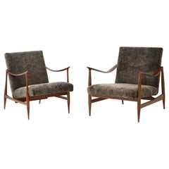 Brazilian Style Lounge Chairs with Walnut Frames & Lamb's Wool Upholstery