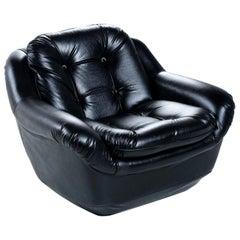 Brazilian Style Tufted Black Naugahyde Vintage Pod Armchair