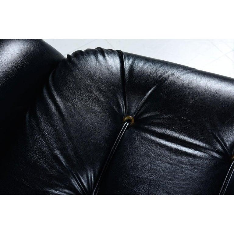 Brazilian Style Tufted Black Vinyl Vintage Sofa and Armchair Set For Sale 3