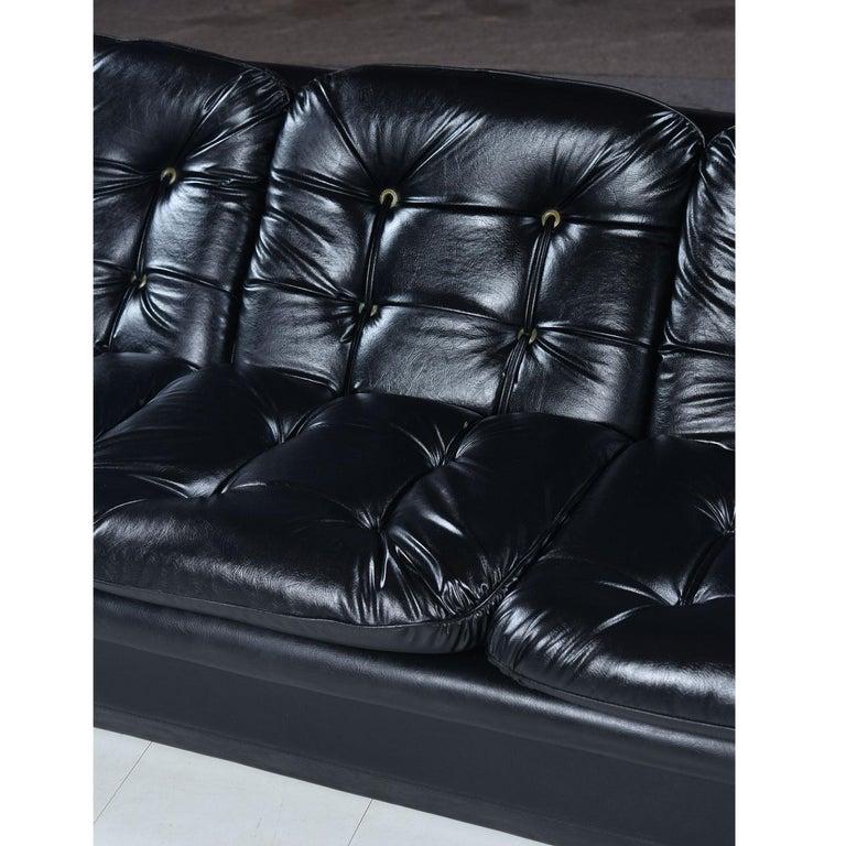Brazilian Style Tufted Black Vinyl Vintage Sofa and Armchair Set For Sale 4