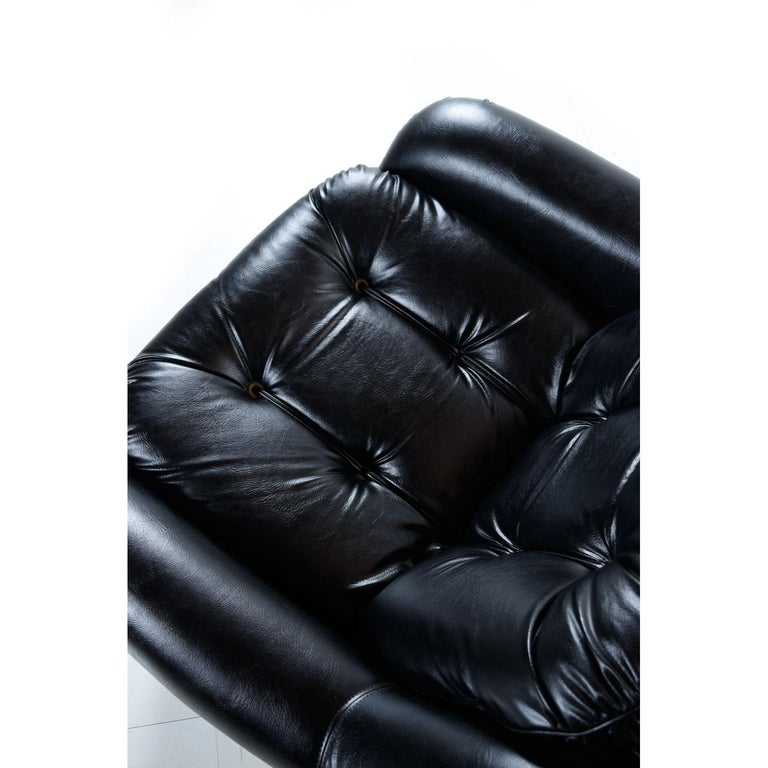 Brazilian Style Tufted Black Vinyl Vintage Sofa and Armchair Set For Sale 2