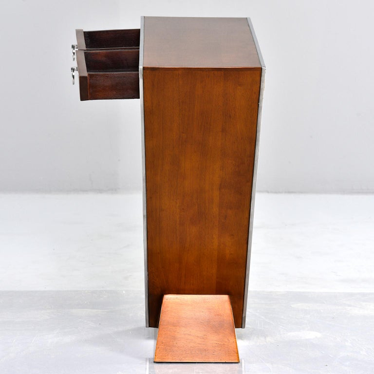 Midcentury Teak and Chrome Console with Triangular Base In Good Condition In Troy, MI
