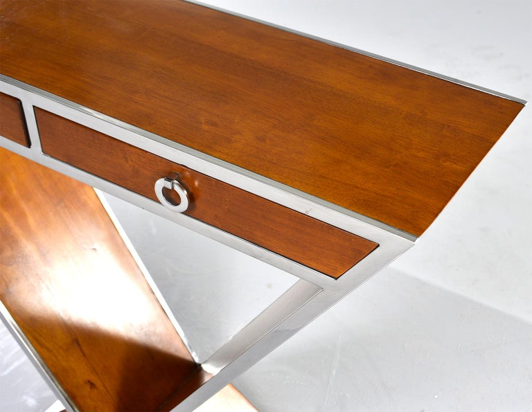 20th Century Midcentury Teak and Chrome Console with Triangular Base