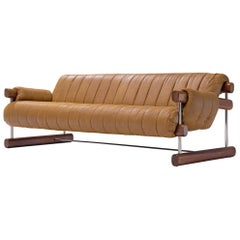 Brazilian Three-Seat Sofa in Brown Alcantara