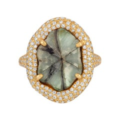 Brazilian Trapiche Emerald Sculptural Ring with Diamond Pave in 18k Matte Gold