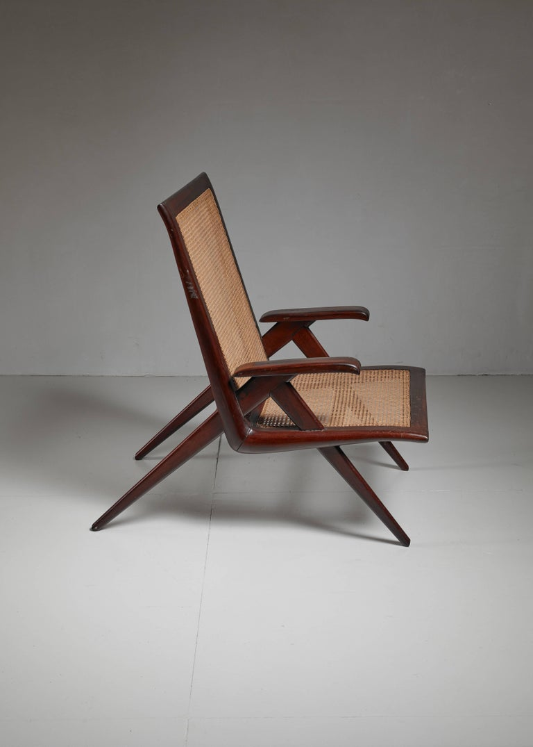 Mid-Century Modern Brazilian Wooden Armchair with Woven Cane Seating, 1950s For Sale