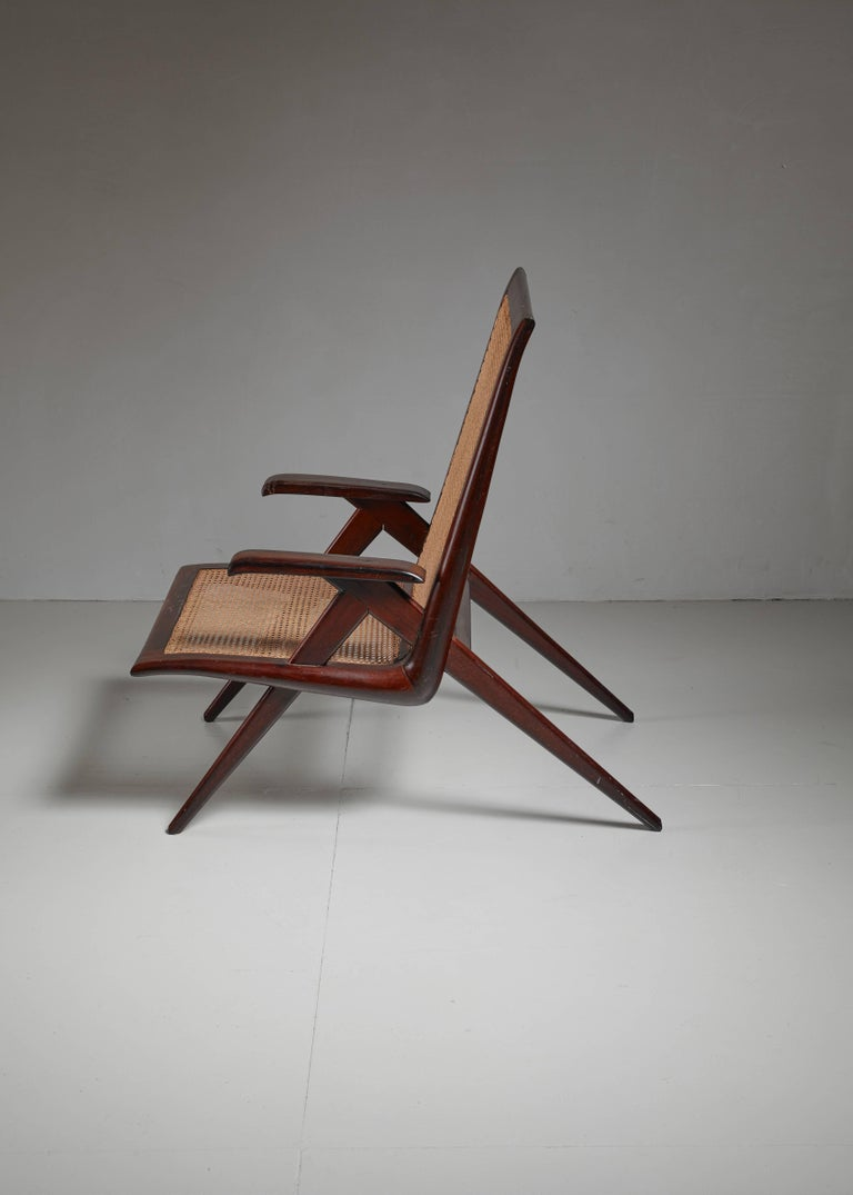 Brazilian Wooden Armchair with Woven Cane Seating, 1950s In Excellent Condition For Sale In Amsterdam, NL