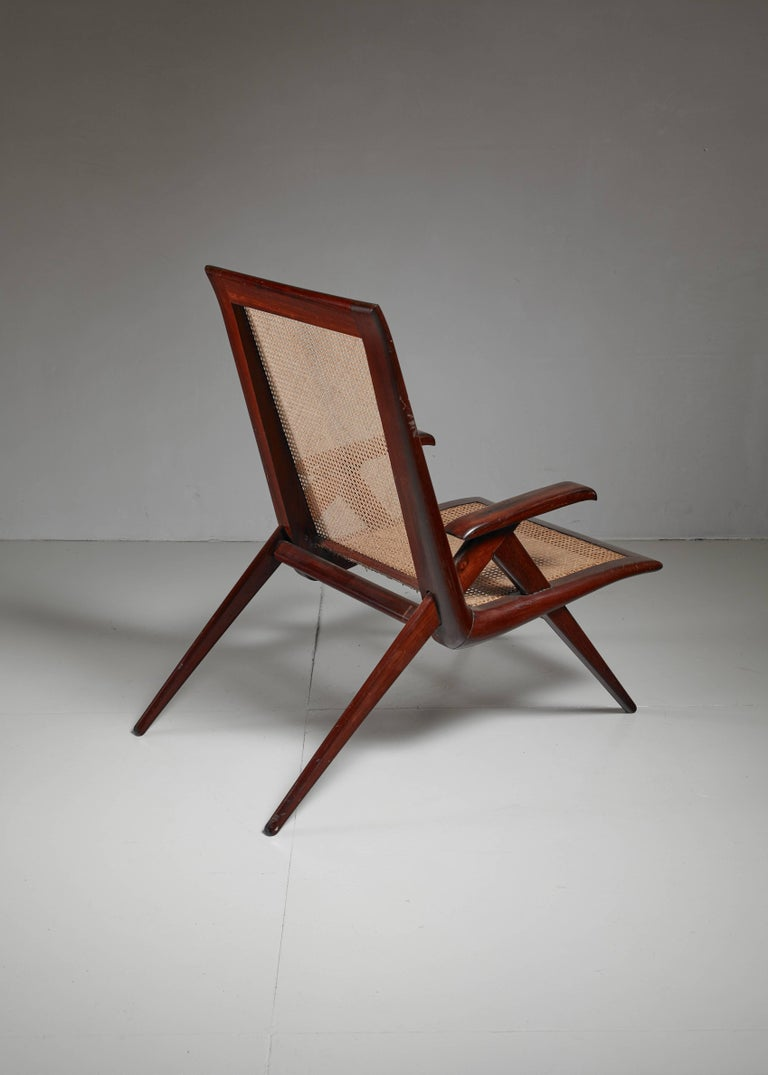 Mid-20th Century Brazilian Wooden Armchair with Woven Cane Seating, 1950s For Sale