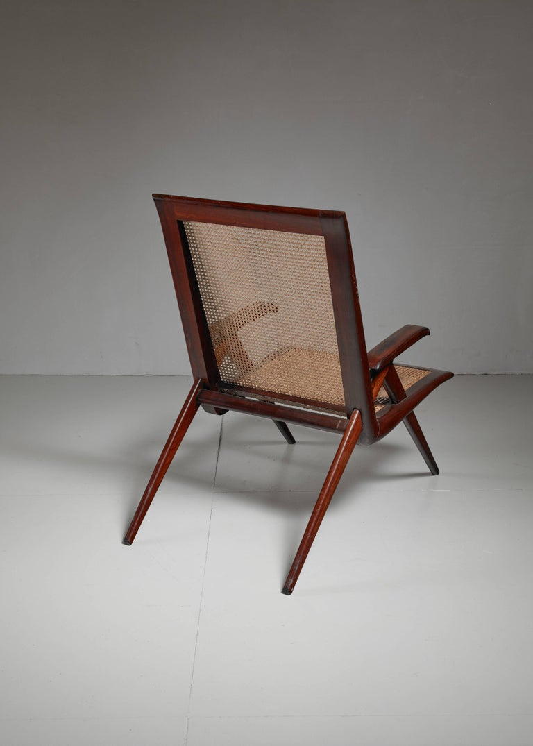 Brazilian Wooden Armchair with Woven Cane Seating, 1950s For Sale 1