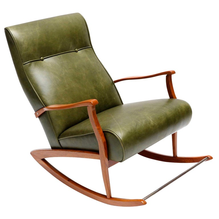 Brazilian Wooden Rocking Chair in Green Leather, 1960s For Sale