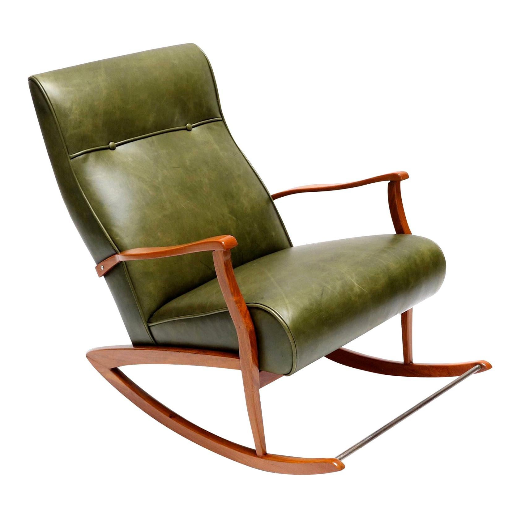 Brazilian Wooden Rocking Chair in Green Leather, 1960s