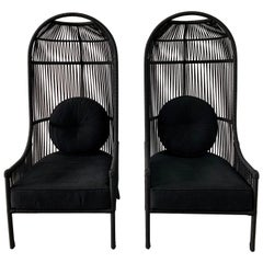 Brazilian Woven Nautical Rope Cocoon Chairs, Pair