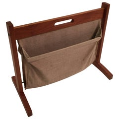 BRDR Furbo Teak and Canvas Magazine Rack