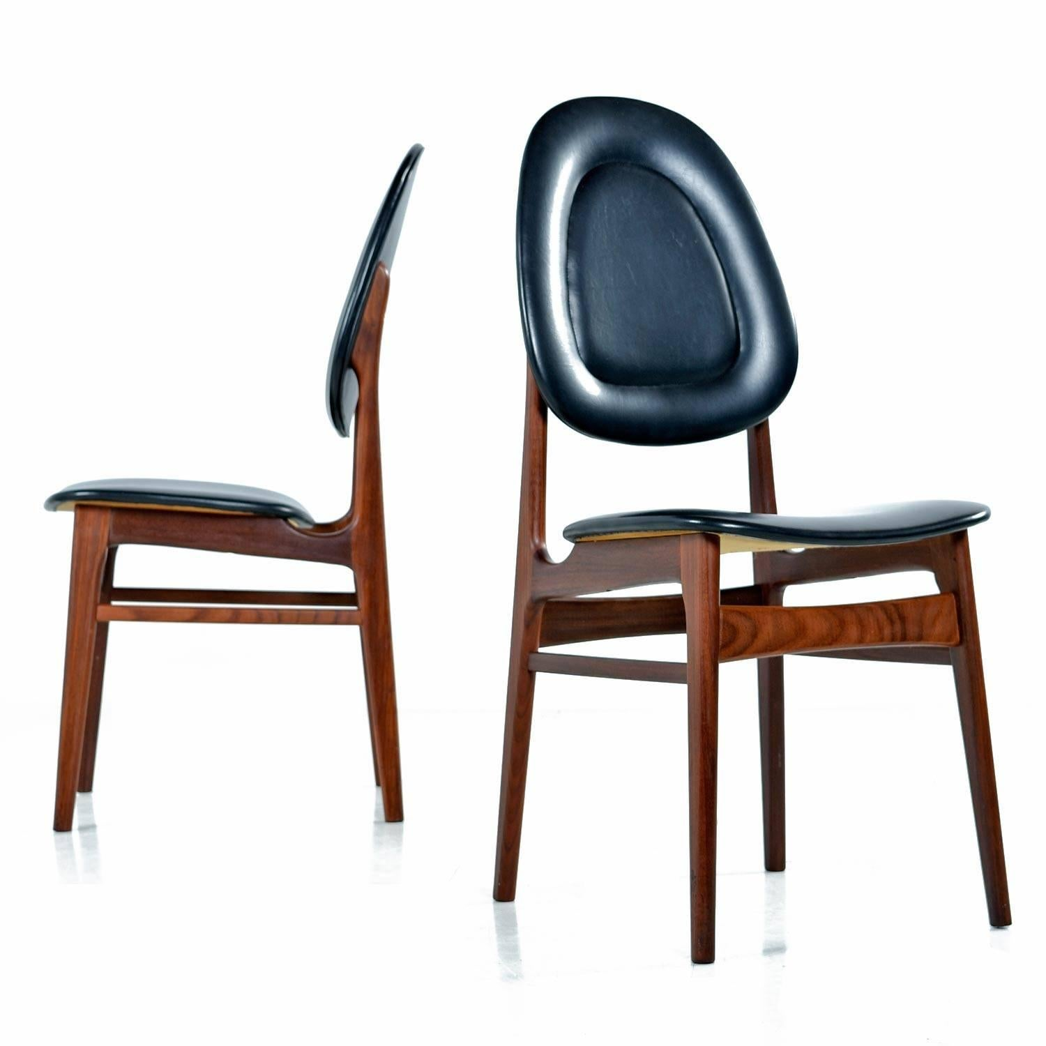Fine Brodrene Sorheim Norwegian Walnut Dining Chairs Set Of Six Original Black Vinyl Gmtry Best Dining Table And Chair Ideas Images Gmtryco