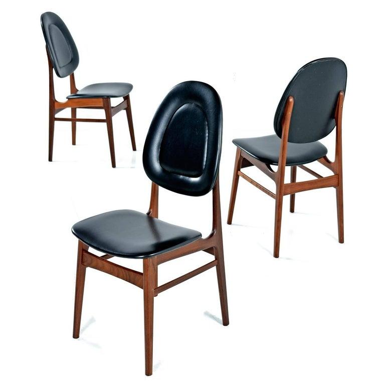 Mid-20th Century Brødrene Sørheim Norwegian Walnut Dining Chairs Set of Six For Sale