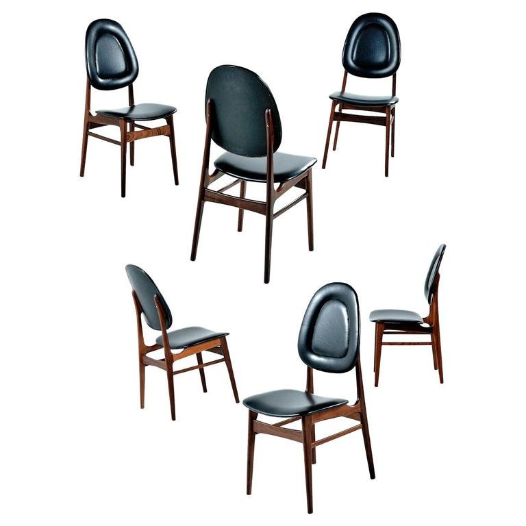 Brødrene Sørheim Norwegian Walnut Dining Chairs Set of Six For Sale