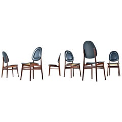 Brødrene Sørheim Norwegian Walnut Dining Chairs Set of Six Original Black Vinyl