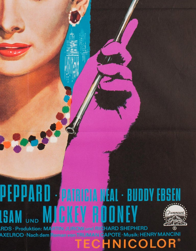 Paper Breakfast at Tiffany's 1962 German A1 Film Poster, Peltzer For Sale