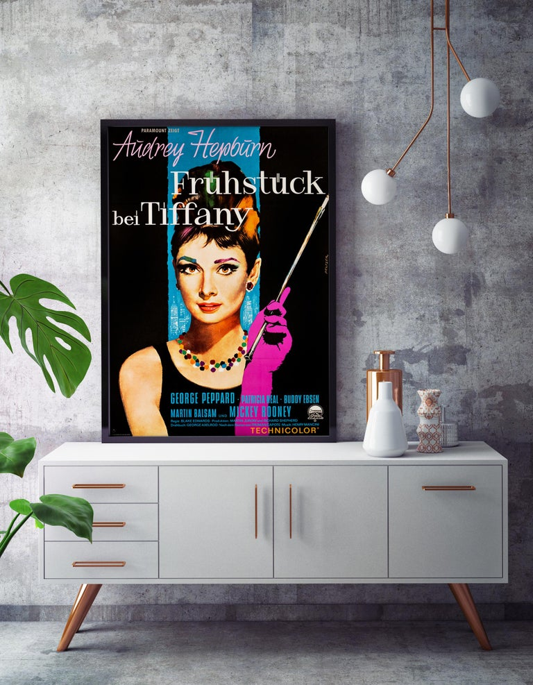 Modern 'Breakfast at Tiffany's' Original Vintage Movie Poster, German, 1962 For Sale