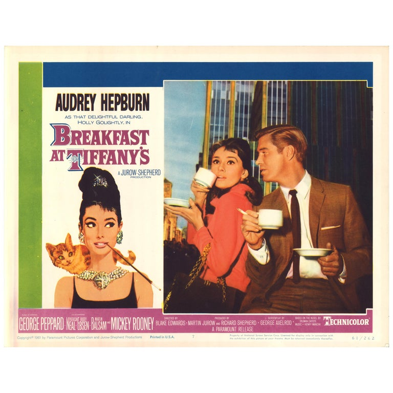 'Breakfast at Tiffany's' Original Vintage US Lobby Card Movie Poster, 1961 For Sale