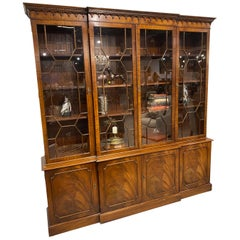 Breakfront Bookcase Georgian Style Mahogany, Made in England 4 Glazed Doors