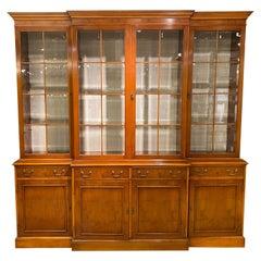 Breakfront Display Bookcase, Yew Wood, Georgian Styling, English, Bevel Glass