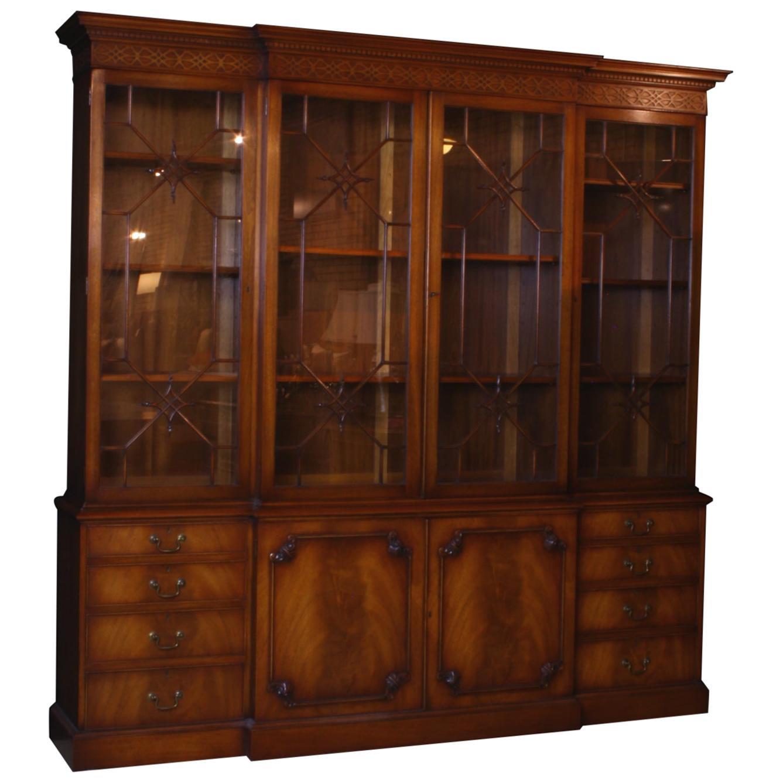 Breakfront Georgian Style English Mahogany Bookcase