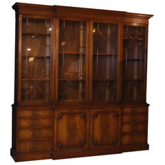 Breakfront Georgian Style English Mahogany Bookcase