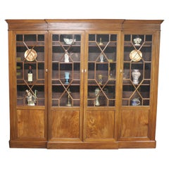 Breakfront Mahogany 4 Doors Bookcase from England