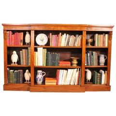 Breakfront Open Bookcase in Walnut 19th Century