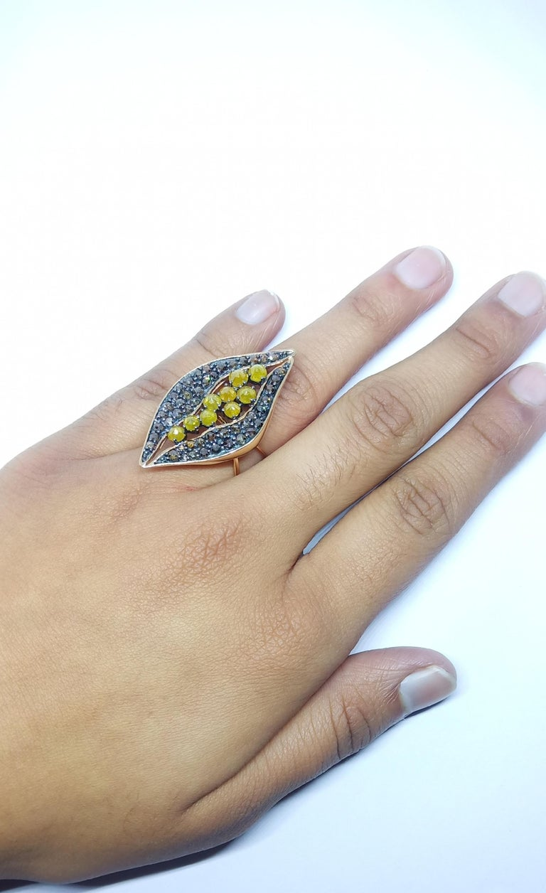 Find Your Significant Other in One of a Kind Colored Diamond Cocktail Ring For Sale 4
