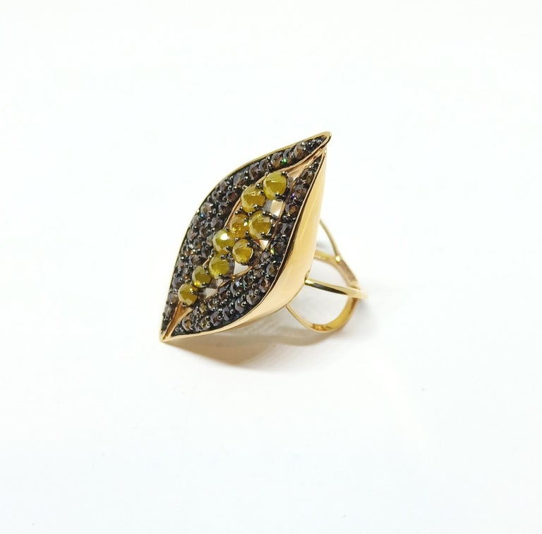Contemporary Find Your Significant Other in One of a Kind Colored Diamond Cocktail Ring For Sale