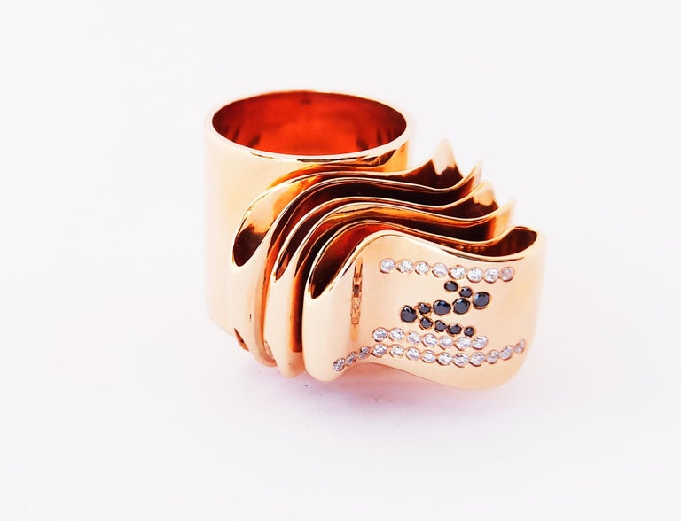 Articulate Your One of a Kind with Contemporary Diamond Rose Gold Fashion Ring For Sale 6