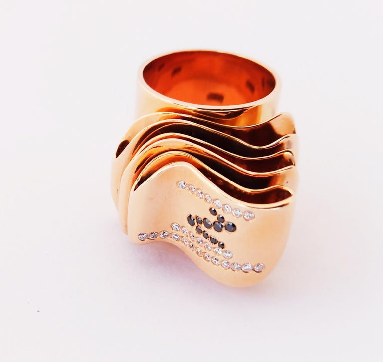 Articulate Your One of a Kind with Contemporary Diamond Rose Gold Fashion Ring For Sale 7