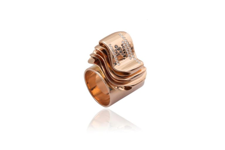 Articulate Your One of a Kind with Contemporary Diamond Rose Gold Fashion Ring For Sale 12