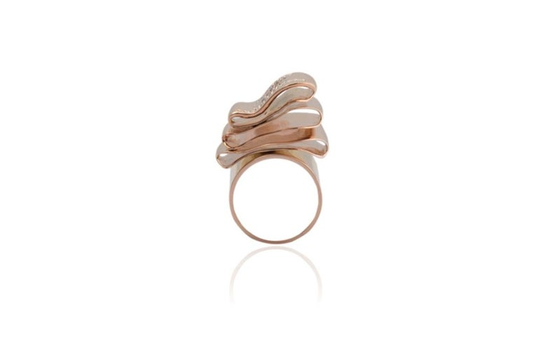 Articulate Your One of a Kind with Contemporary Diamond Rose Gold Fashion Ring For Sale 1