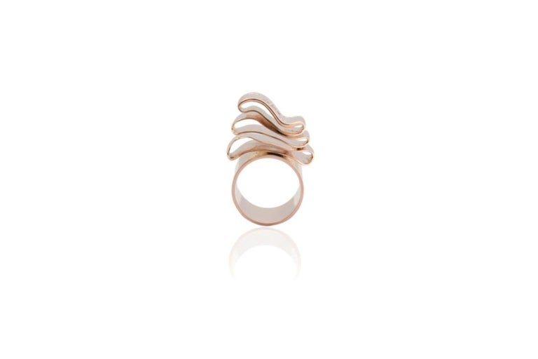 Articulate Your One of a Kind with Contemporary Diamond Rose Gold Fashion Ring For Sale 2