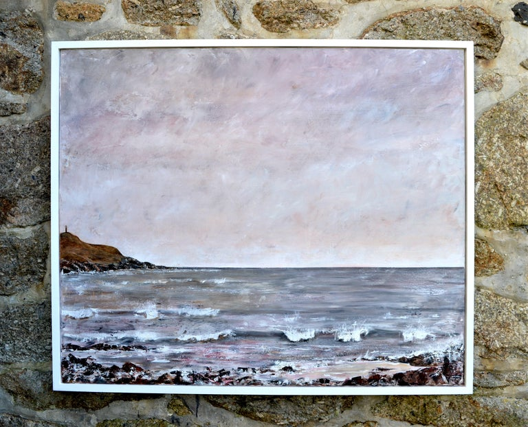 Really very beautiful seascape form this well collected Cornish artist. Really capturing that moment when the sky changes color.  In a white wood edge frame Signed Measures: Image 39