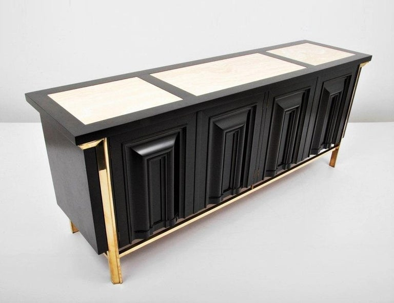 Mid-Century Modern Breathtaking Black Lacquered and Brass Credenza or Sideboard by Mastercraft For Sale