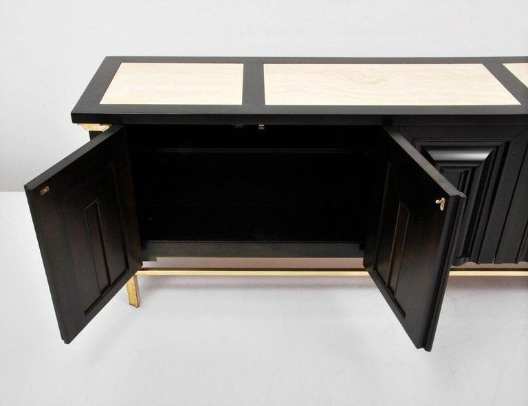 American Breathtaking Black Lacquered and Brass Credenza or Sideboard by Mastercraft For Sale