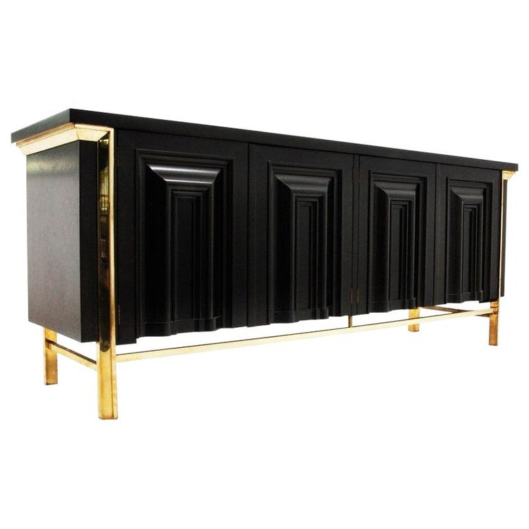 Breathtaking Black Lacquered and Brass Credenza or Sideboard by Mastercraft For Sale