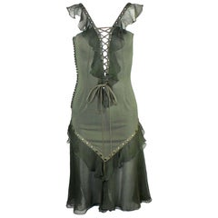 NEW Christian Dior by John Galliano Deep Cleavage Laceup Silk Dress
