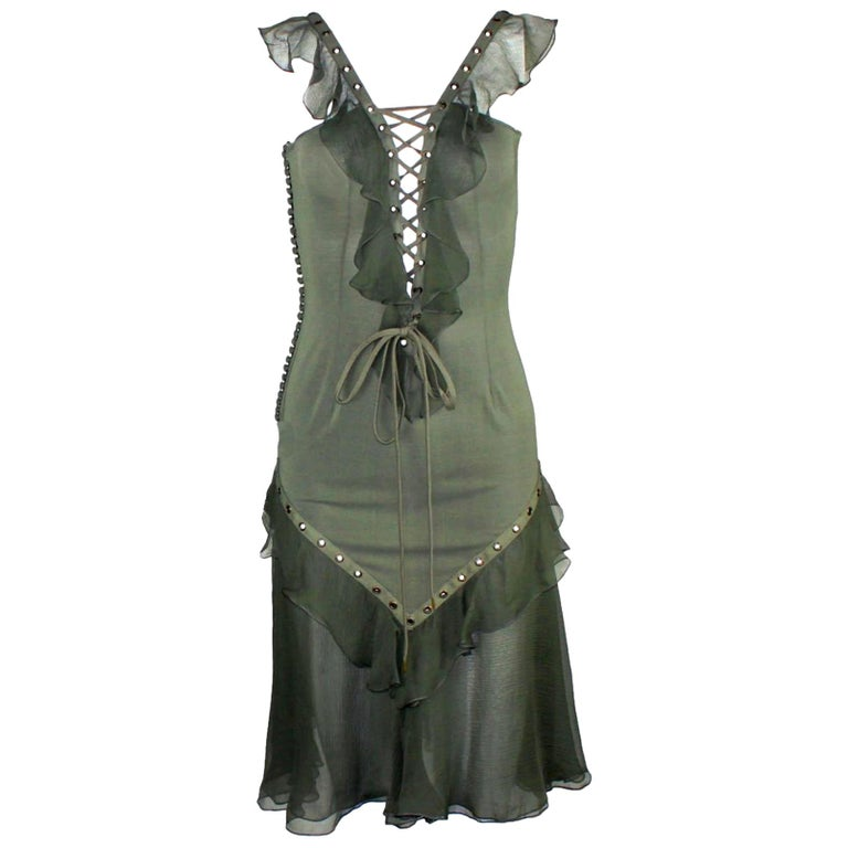 NEW Christian Dior by John Galliano Deep Cleavage Laceup Silk Dress For Sale