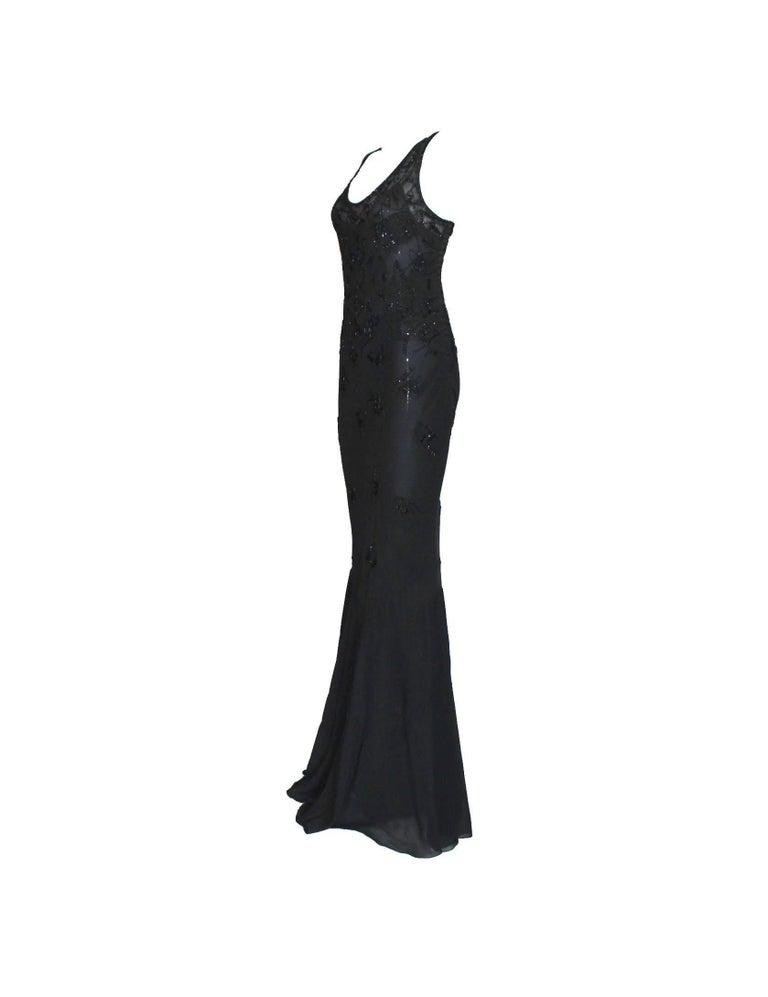 Black Breathtaking Christian Dior Embellished Silk Chiffon Evening Gown Dress For Sale