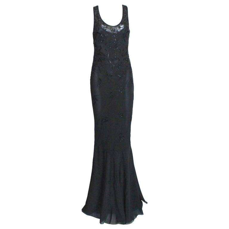 Breathtaking Christian Dior Embellished Silk Chiffon Evening Gown Dress For Sale
